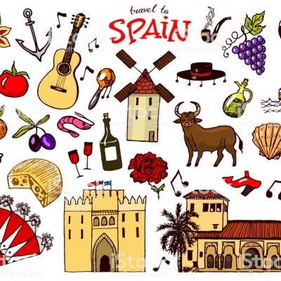 Spanish traditional symbols and objects. Set of signs and icons in vintage style. Hand Drawn. Guitar, futbol, music and wine